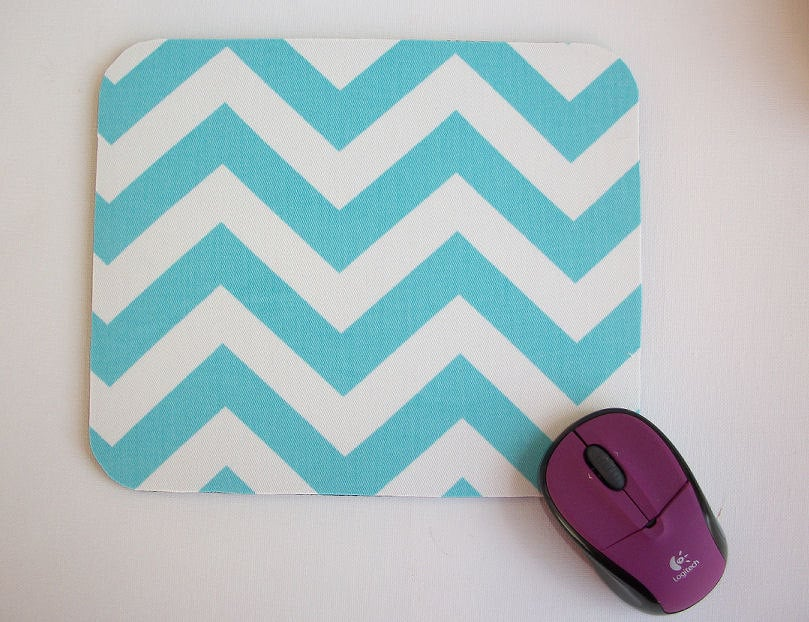 Bring a bit of personality to your desk space with this bright Blue Chevron Mouse Pad ($9).