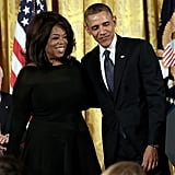 President Obama posed for a picture with Oprah Winfrey.
