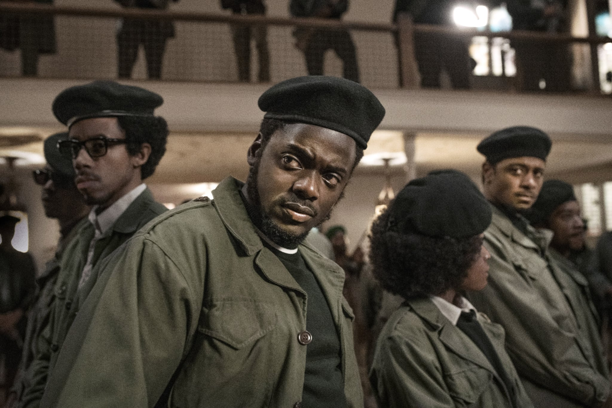 JUDAS AND THE BLACK MESSIAH, Daniel Kaluuya (front), as Fred Hampton, 2021.  ph: Glen Wilson / Warner Bros. / Courtesy Everett Collection