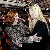 Christina Hendricks and Elle Fanning laughed on Saturday.