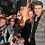 Liam Hemsworth greets fans at the Hunger Games premiere in Canada.