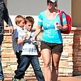 Britney Spears had lunch at McDonald's with Sean Preston and Jayden James.