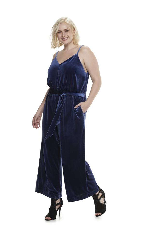 Velvet Wide Leg Jumpsuit in Blueprint