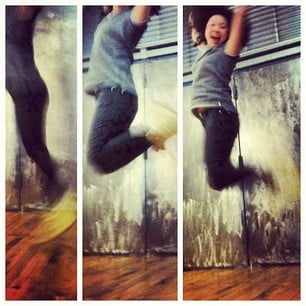 """Chi Chau got air! Just another day at the office — aka a photo shoot for #Marchphotoaday's """"jump"""" theme. It must have been her Isabel Marant wedge kicks."""