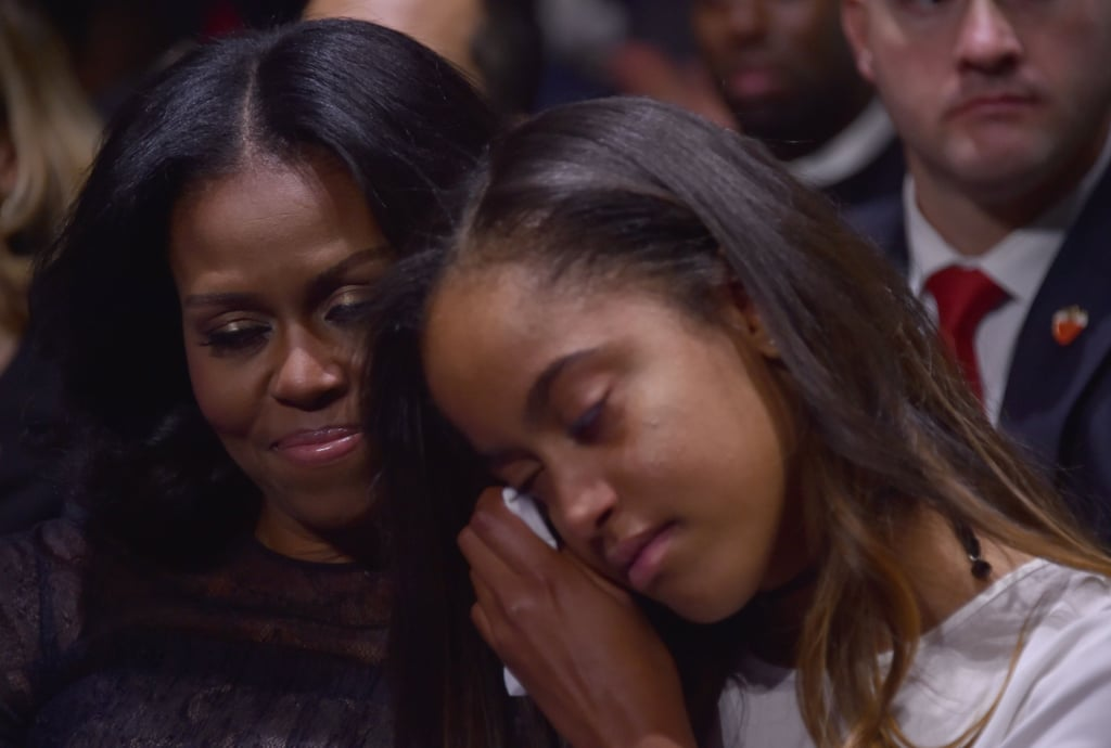 """In case you somehow missed it, President Barack Obama delivered his farewell speech after eight years in office in Chicago on Tuesday. While his shout-out to wife Michelle was sweet enough, things got even cuter when cameras panned to his 18-year-old daughter, Malia, who was crying in the audience. """"Of all that I have done in my life, I'm most proud to be your dad,"""" Barack said while addressing his daughters. Sadly, 15-year-old Sasha did not attend, as she was in Washington DC studying for a school exam. Oh, how we're going to miss the Obama family.      Related:                                                                                                           42 Photos From the Obamas' Last Year in the White House That Might Bring a Tear to Your Eye"""