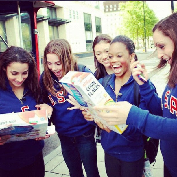 The fab five were excited to see their Kellogg's cereal box. Source: Instagram user mckaylamaroney