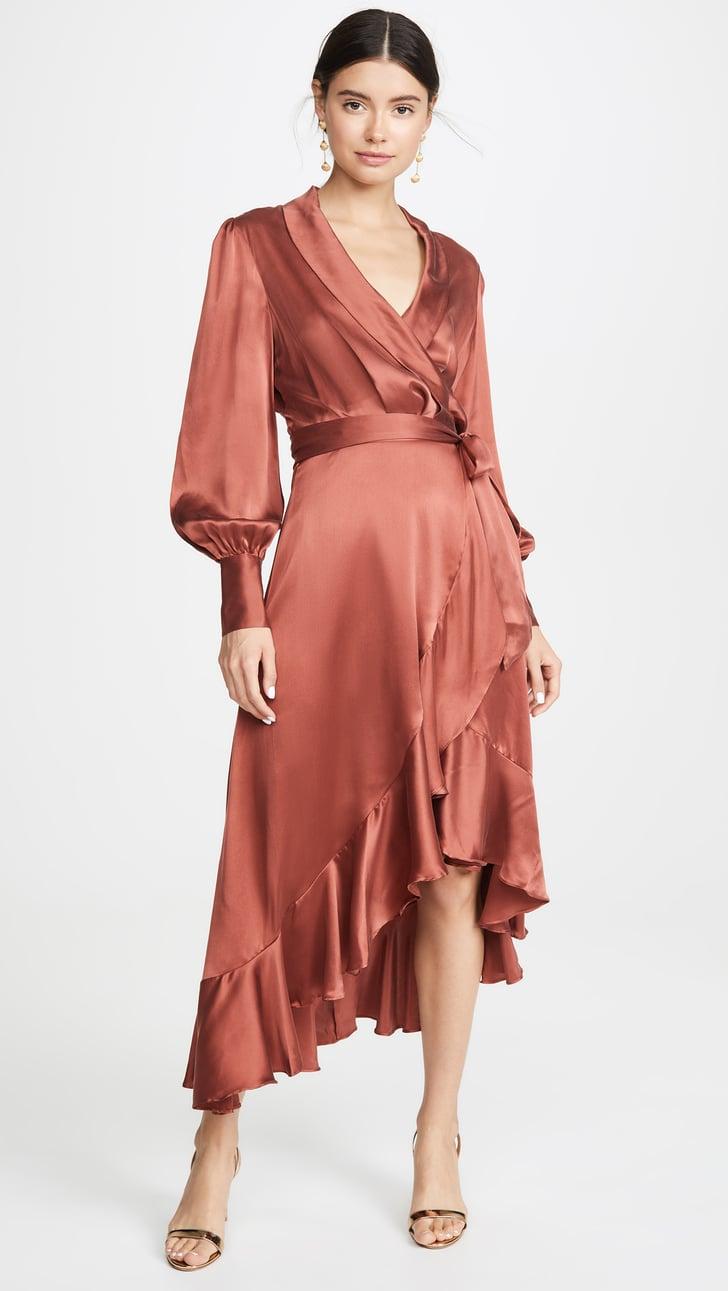 Zimmermann Espionage Silk Wrap Midi Dress Best Fall