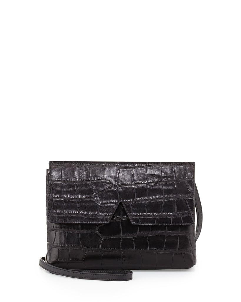 Vince Signature V Croc-Embossed Baby Crossbody Bag, Black ($265)