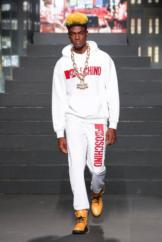 A Model Wearing a Retro MTV Sweatsuit
