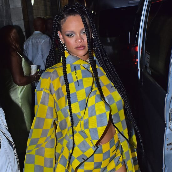 Rihanna's Off-White Yellow Checkered Cape Set April 2019
