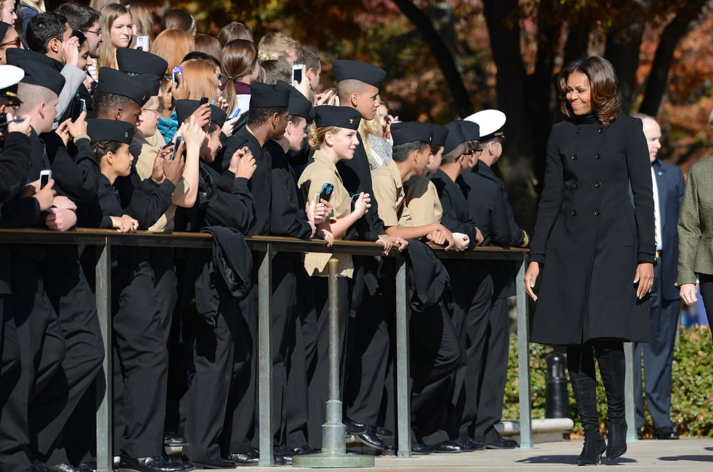 Michelle Obama greeted the crowd at the Arlington National Cemetery Veterans Day ceremony.