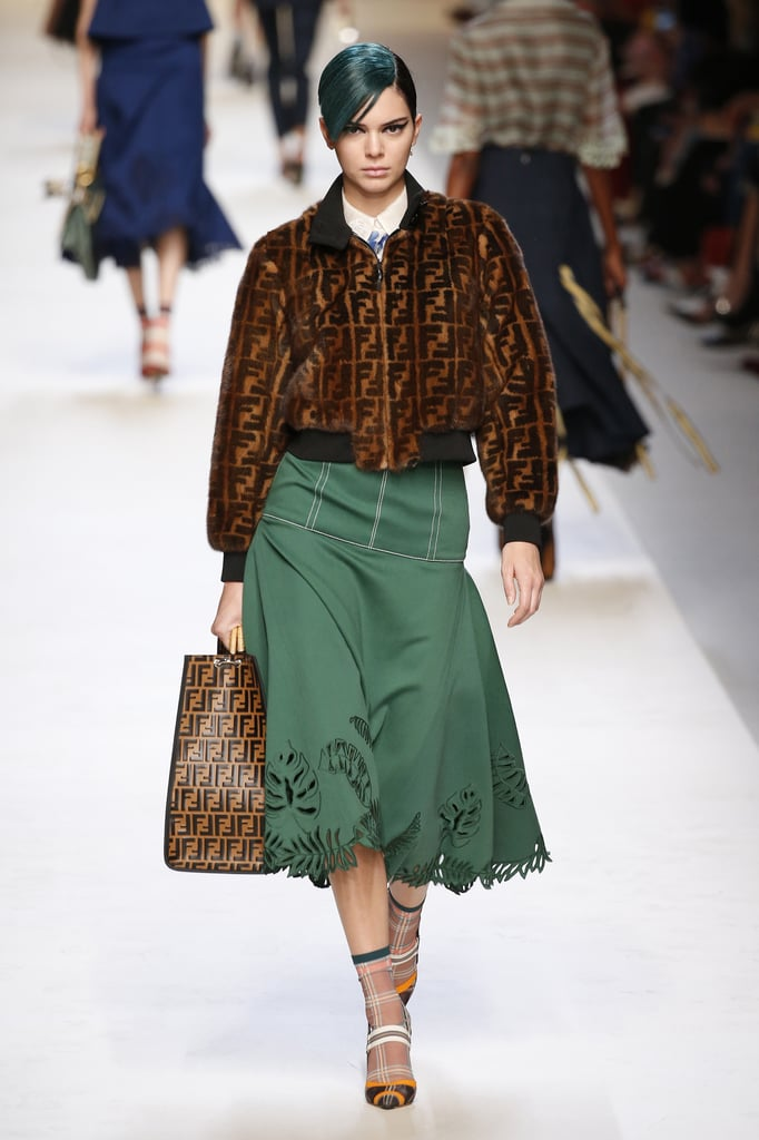 Kendall Walked the Fendi Runway in a Logo-Covered Bomber Jacket