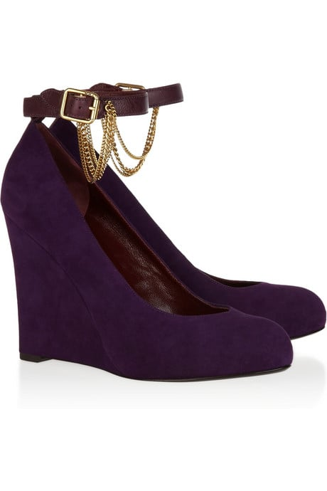 Marc by Marc Jacobs Chain-Embellished Suede Wedges ($350)