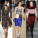 The laced-up look made the Fall '12 rounds in New York City, Milan, and Paris. Whether you approach it from a ladylike avenue or opt for an over-the-top sexy style, lace-up detailing has dominated every shoe silhouette this season. To prove our point, we've got three standout cases. Salvatore Ferragamo gave us the ultimate lesson in sultry velvet-meets-flamenco lace-ups, Balenciaga took on a sportier vibe with a wider lace-up front, and Tory Burch kept it ultrafeminine with a lace-up oxford heel.  From left to right: Salvatore Ferragamo, Balenciaga, and Tory Burch