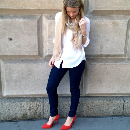 loving dark jeans, a flowy white top, and a pop of color through some bright shoes!