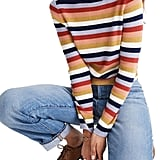 Madewell Stripe Mock Neck Pullover Sweater