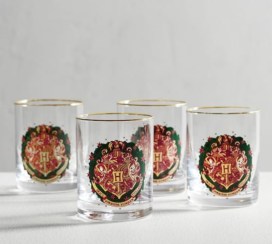 Harry Potter Hogwarts Holiday Crest Glass Tumblers