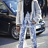 Take your printed pants out of hiding and revamp them with chic, structured layers up top.