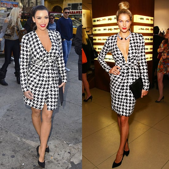 Kim Kardashian in Salvatore Ferragamo Houndstooth Dress