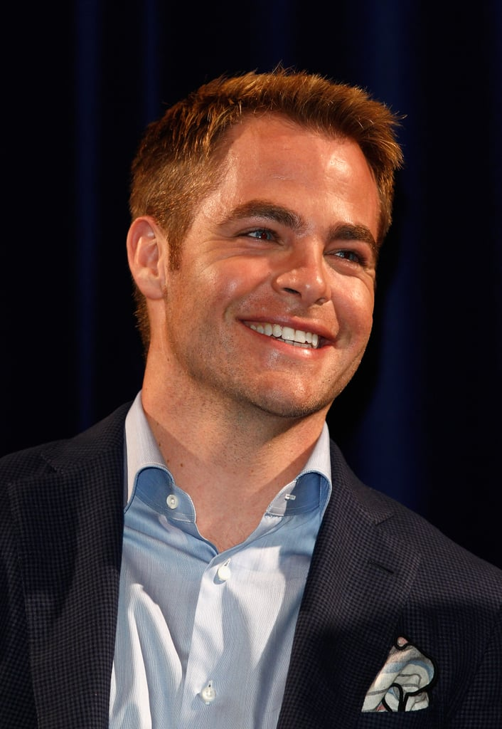Chris Pine smiled at the Q&A session for Rise of the Guardians.
