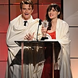 Chris Colfer and Zooey Deschanel had fun on stage at the Critics' Choice Television Awards in LA.