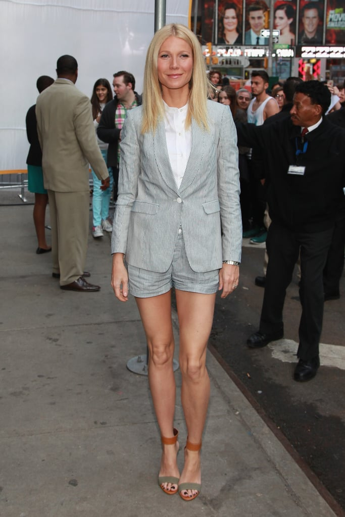 While visiting Good Morning America in NYC, Gwyneth styled a linen Rag & Bone shorts suit with simple ankle-strap sandals by Bruno Magli.