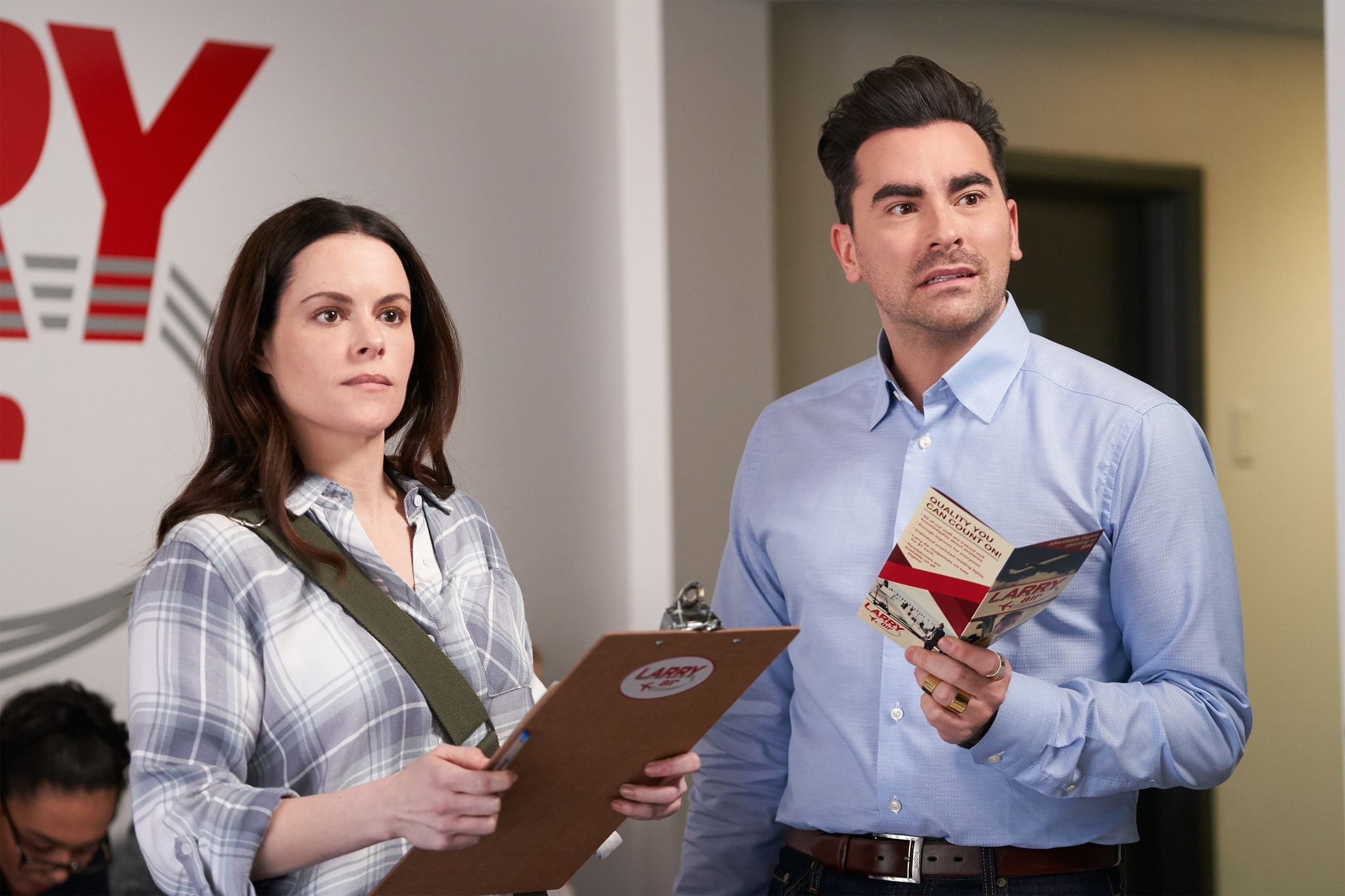 SCHITT'S CREEK, from left: Emily Hampshire, Daniel Levy, 'The Job Interview', (Season 6, ep. 603, originally aired in the US on Jan. 21, 2020). photo: CBC/Comedy Central / courtesy Everett Collection