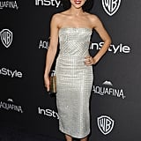 Nathalie Emmanuel stunned in a silver dress at a Golden Globes afterparty.