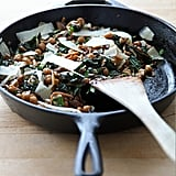 Balsamic Mushrooms, Chickpeas, and Kale With Caramelized Onions