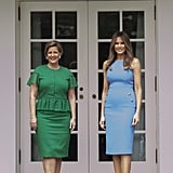 In June 2017, Melania Welcomed Panama's President and First Lady in a Powder Blue Version of the Dress