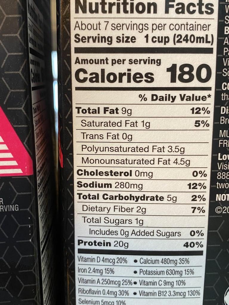Silk Ultra Unsweetened Nutritional Information