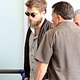 Rob kept a low profile at the airport.