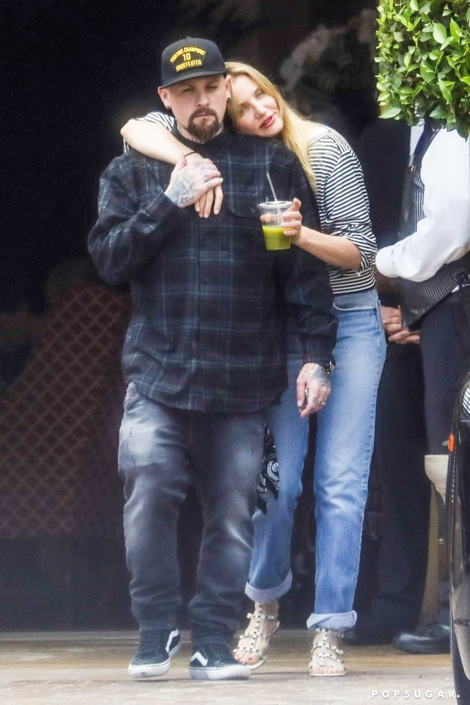 "If there's one couple we wish we saw more of, it's Benji Madden and Cameron Diaz. The two stepped out for an adorable lunch date at Bouchon in Beverly Hills on Monday afternoon. Clad in a striped shirt and jeans, Cameron appeared to be in a good mood as she wrapped one of her arms around Benji and held on to a green juice drink with the other. Cameron has been keeping a low profile since the release of her Longevity Book last year, while the Good Charlotte rocker is getting ready to hit the road in a couple of days for the European leg of his tour with Pierce the Veil and Sleeping With Sirens.       Related:                                                                                                           A Peek Inside Benji Madden and Cameron Diaz's Sweet Love Story               It's unclear whether Cameron plans to join him, but one thing's for sure: Cameron is one proud wife. Back in July 2016, the actress couldn't help but gush about her husband on Instagram, writing, ""One of my favorite things about being married, is how much pride I take in my husband @benjaminmadden... He makes me proud everyday.. One day it might be how generous and giving, another how gentle and thoughtful. Or when he is fiercely protective of the people he loves and cares about... And everyday single day I am so incredibly proud of his integrity as a human being."" Aw!"