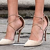 She Finished Her Engagement Look With a Pair of Aquazzura Lace-Up Pumps