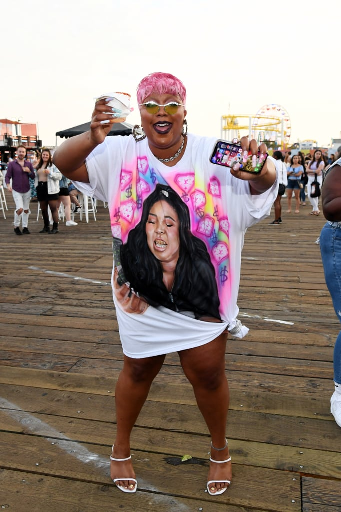 Lizzo Wearing a T-Shirt Dress With Her Face On It