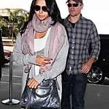 Matt Damon arriving at LAX with his wife.