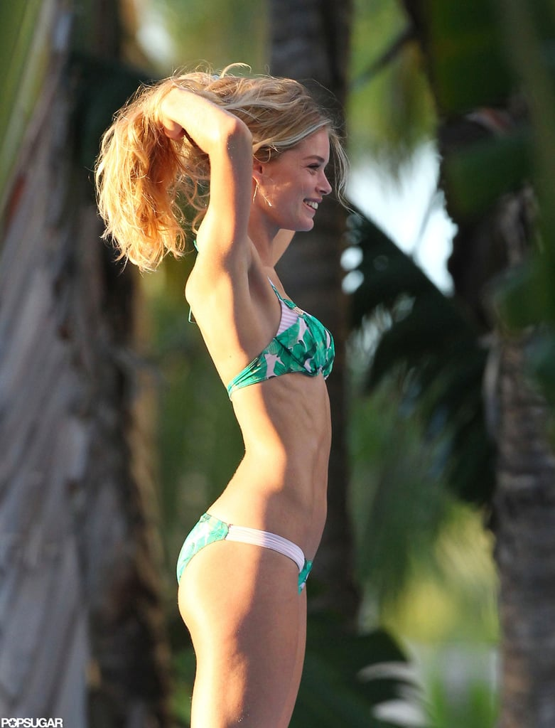 Doutzen Kroes Shares Her Bikini Body Tips & Gets to Work in a Swimsuit