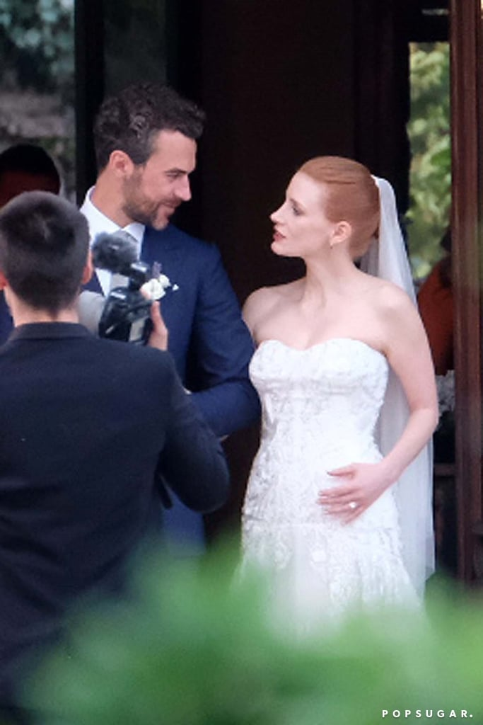 """Jessica Chastain was a vision in white when she tied the knot with her longtime Italian boyfriend, Gian Luca Passi de Preposulo, in Treviso, Italy, on Saturday. The couple, who first started dating in 2012, shared a few loving glances as they gathered with the bridal party for a few photos at his family-owned Villa Tiepolo Passi estate. Some of Jessica's famous friends were also on hand for the reception including Anne Hathaway; Anne's husband, Adam Shulman; Emily Blunt; and Jessica's Zero Dark Thirty costar Edgar Ramirez. Emily certainly made the most out of her Italian getaway. The actress was recently spotted catching some rays ahead of the wedding as she relaxed off the coast of Tuscany with husband John Krasinski.       Related:                                                                                                           Wedding Bells: All the Celebrity Couples Who've Said """"I Do"""" This Year"""