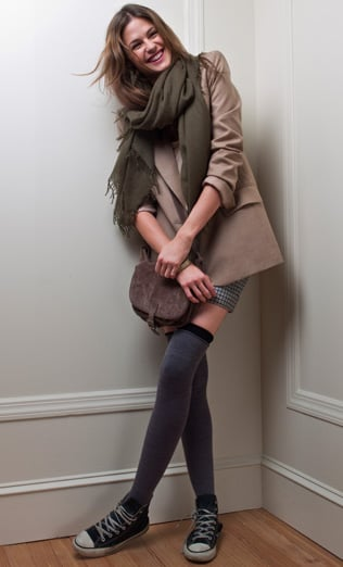 Max Blazer ($239), Jacqueline Winter Shorts ($119), Samarie Top ($89), Carrie Suede Bag ($229), Sadie Square Scarf ($98), Wool Thigh Highs ($24)