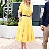 Kristen Dunst wore a bright yellow dress with a full skirt to a photocall for the 2016 Cannes jury.