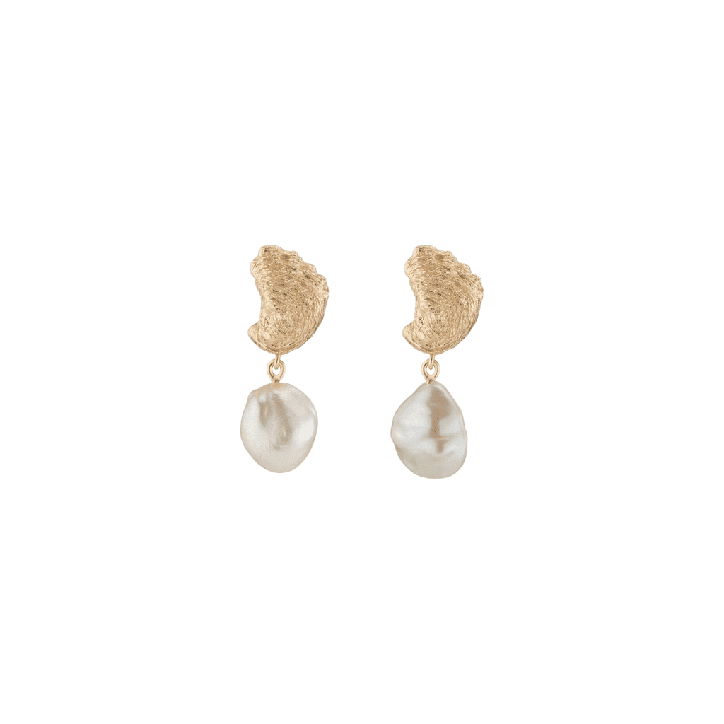 Aurate x Kerry Venus Organic Pearl Gold Earrings