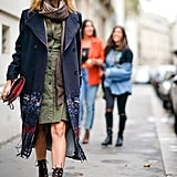 Wear Your Scarf with a Green Dress and Lace-Up Boots