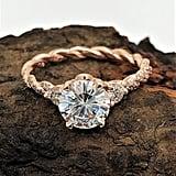 1.25 Carat Round Cut Color Moissanite 14k Rose Gold Diamond Engagement Ring