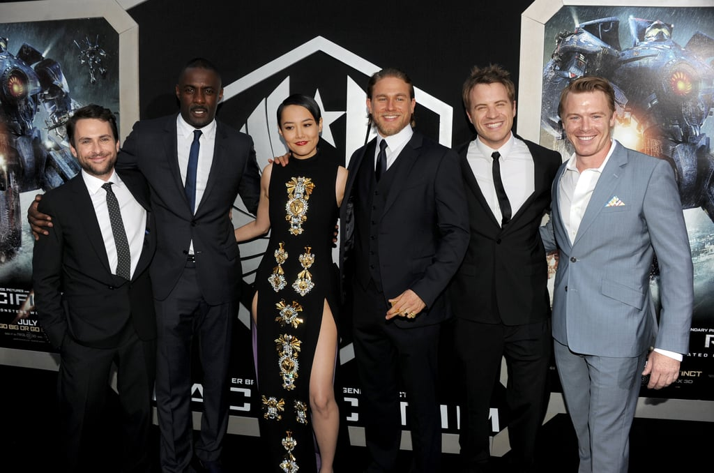 Attending the premiere of their new film, Pacific Rim, on July 9, Charlie Day, Idris Elba, Rinko Kikuchi, Charlie Hunnam, Robert Kazinsky and Diego Klattenhoff were a (mostly) colour-cooridnated mob.