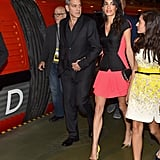 Amal looked super bold in her Antonio Berardi mini and neon cap-toe heels.