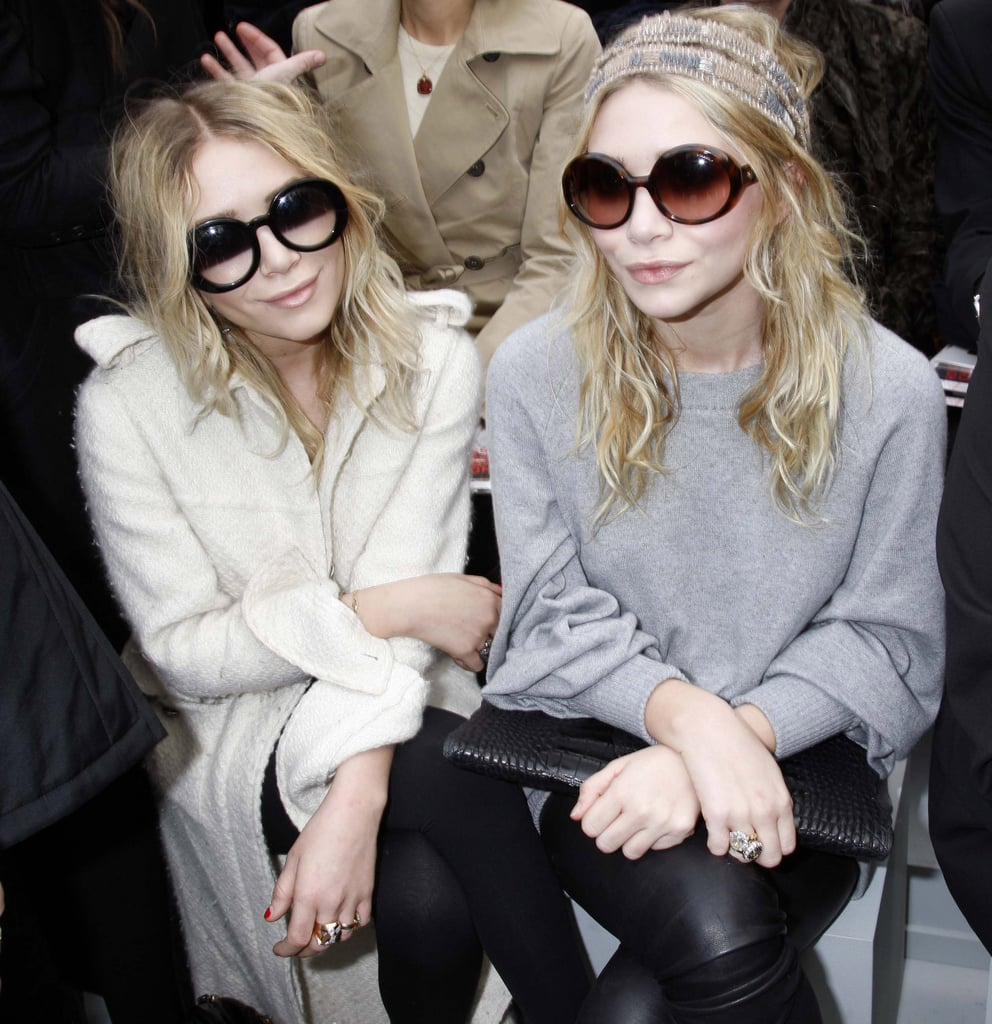 Mary-Kate Olsen and Ashley Olsen were together to see Chanel in Paris in February 2008.