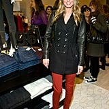 Nicky Hilton furthers the seasonal intrigue of her look with a pair of bright skinny pants.