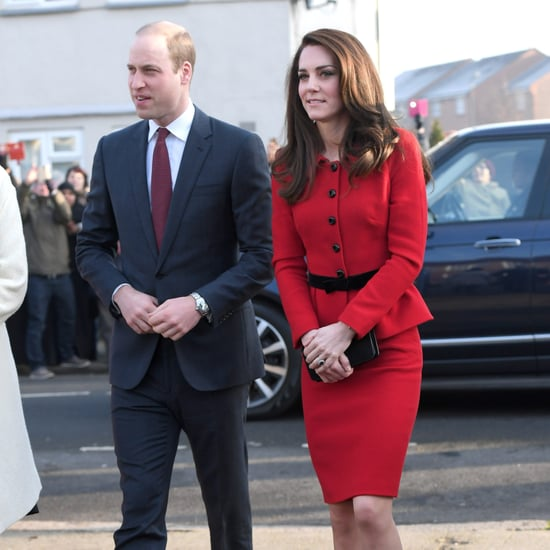 Kate Middleton Wearing Luisa Spagnoli Red Suit