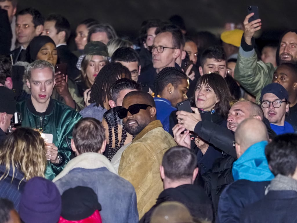 Kanye West During the Yeezy Show at Paris Fashion Week