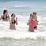 AnnaLynne McCord swam in the ocean with her friends.